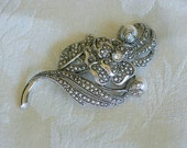 Vintage Brooch by Kenneth J. Lane with Pearls and Marcasite