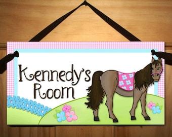 Pretty Horses Pink and Blue Ponies Girls Bedroom DOOR SIGN Wall Art DS0022