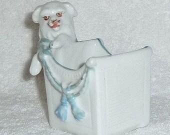 Vintage German Porcelain Maltese Spaniel Dog Match Striker Holder Figurine Tobacco Staffordshire