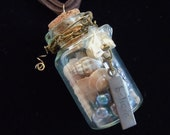 Message In A Bottle Necklace Believe by Debbie Renee, Steampunk Necklace, Wire Wrapped With Shells And Charms