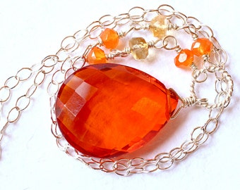 Orange Quartz Necklace with Gemstones on  Sterling Silver - Vulcan by CircesHouse on Etsy
