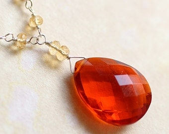 Orange Quartz Necklace with Citrine on Sterling Silver - Corona by CircesHouse on Etsy