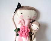 Bella, rag doll with dollie  mothers day  cloth doll made to order
