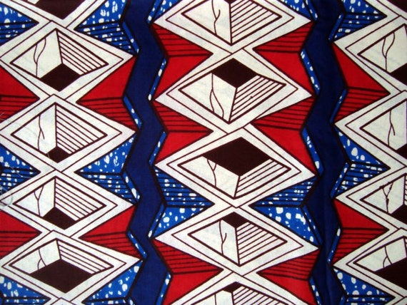Red White and Blue African wax print batik fabric BY THE YARD 100% cotton.