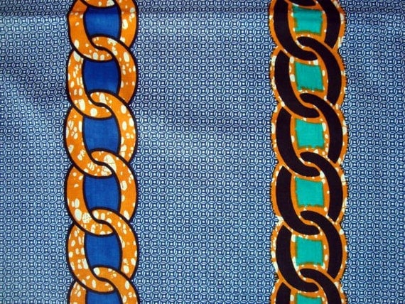 Blue with chains African wax print batik fabric BY THE YARD 100% cotton