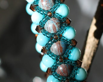 Imperial Turquoise, Mother-of-Pearl and Swavorski Crystal Bracelet