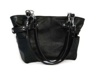Black Leather Bucket Bag - Nickel Hardware - CHLOE