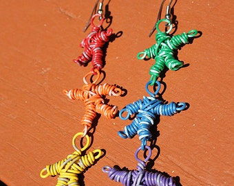 RAINBOW Telephone Wire Earring People