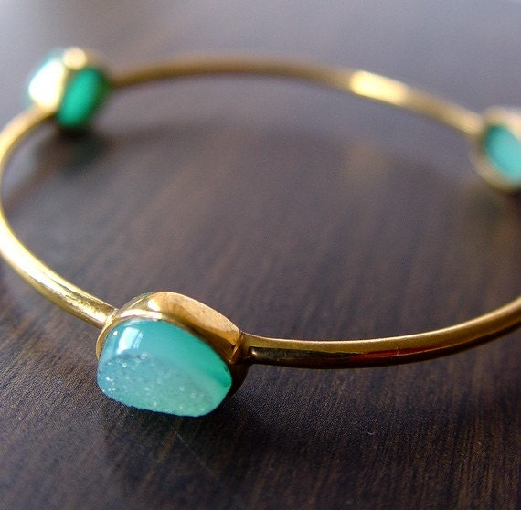 Mint Green Druzy Gold Bangle