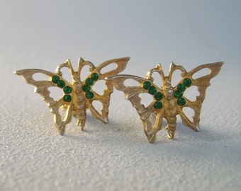 Vintage Rhinestone Butterfly Earrings Emerald Green Clip On