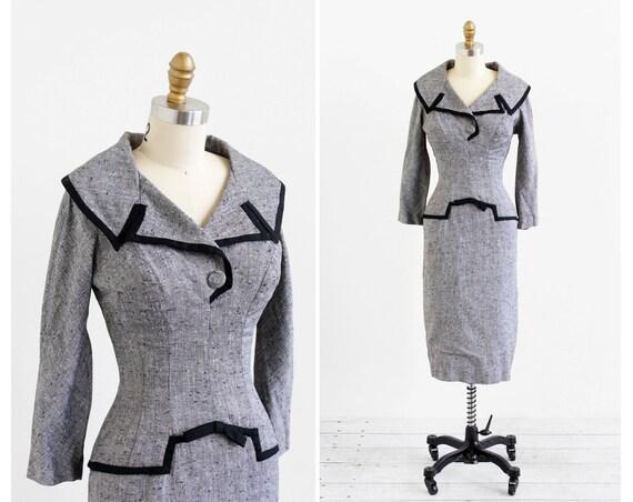 vintage 1950s dress / 1960s dress / Grey and Black Faux Suit Wiggle Dress