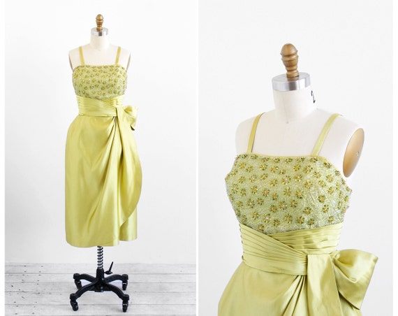 vintage 1950s dress / 1960s dress / Chartreuse Beaded Silk Origami Old Hollywood Cocktail Dress