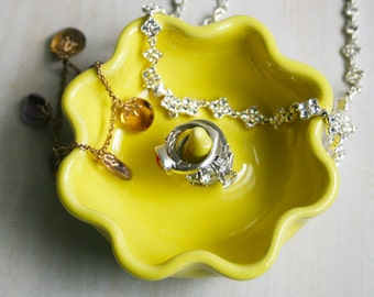 Ring Holder - Bright Yellow Ring Dish in Sunny Yellow Glaze with Ruffled Edges - Handmade Ceramic Jewelry Dish - Yellow Pottery