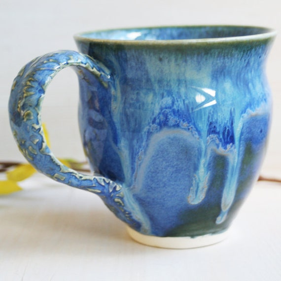 Dripping Blue Glazed Mug - Handmade Coffee Cup - Dripping Magic Cup - Blue Ceramic Pottery Cup