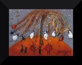 Halloween Happiness  a tiny sheep Black Cat Jack O Lantern Willow Tree PRINT by Deborah Gregg
