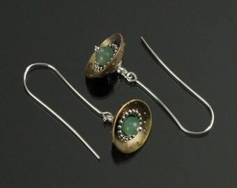Brass & Stone Dangle Earrings - Dangle Earrings - Drop Earrings - Metal Jewelry - Metal Earrings - OOAK - Brass Earrings - Modern Earrings