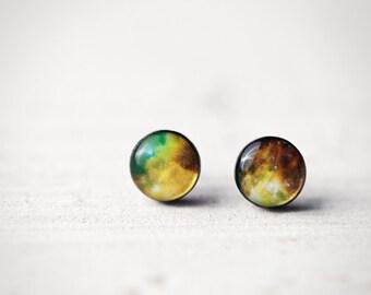 Green galaxy earring studs - Space earring studs - Green stud earrings - Universe earring studs - Green nebula studs - Space jewelry (E115)