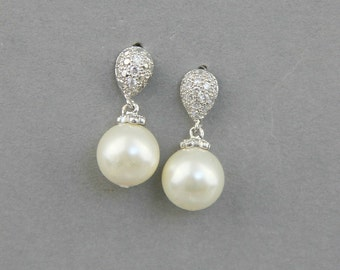 Wedding Pearl Earrings, Bridal Earrings , Ivory Bridal Pearl Earrings , Pearl Drop Earrings , White Swarovski Earrings
