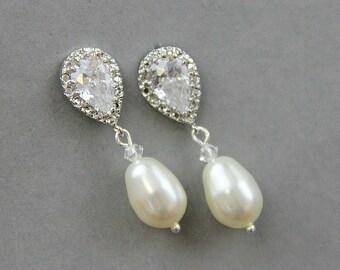 Bridal Earrings , Wedding Pearl Earrings , Bridal Crystal Earrings , Ivory Wedding Earrings, Pearl Drop Earrings , Bridesmaid Earrings