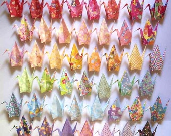 "45 Large Origami Cranes Origami Paper Cranes - Made of 15cm 6"" Japanese Chiyogami Origami Paper - 45 Patterns A"
