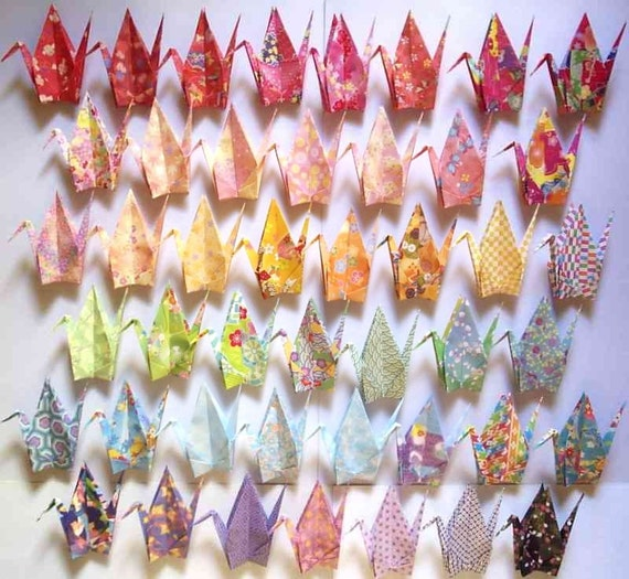 """45 Large Origami Cranes Origami Paper Cranes - Made of 15cm 6"""" Japanese Chiyogami Origami Paper - 45 Patterns A"""