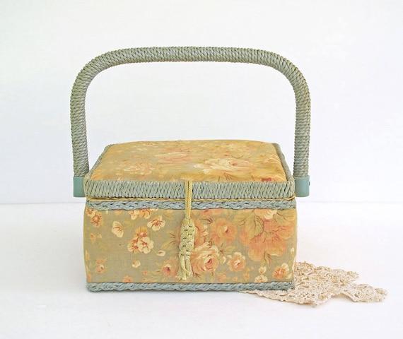 Vintage Sewing Basket - Woven Wicker Trim Box - Cottage Floral Print Exterior