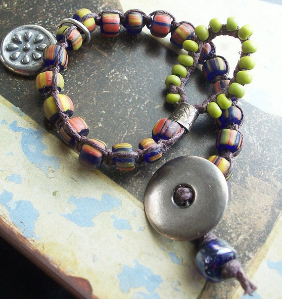 Knotted Bracelet Gunmetal Button with Brown Waxed Linen, Multicolor and Lime Green Glass Beads
