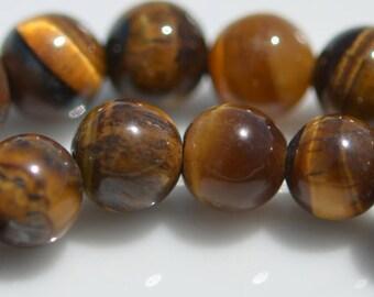 1 Strand Tigereye 8mm Round Beads  BD881