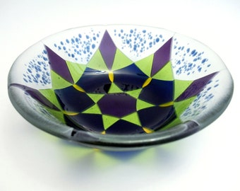 Fused Glass Bowl in Blue, Green and Purple