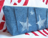 Pencil Pouch Blue Denim White Stars Tool Pouch Clutch
