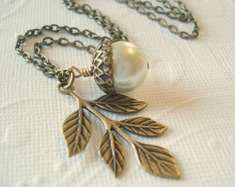 Acorn Necklace Pearl Acorn Necklace Brass Acorn Necklace Acorn and Leaf Necklace Acorn Jewelry Bridesmaid Necklace Acorn Jewelry
