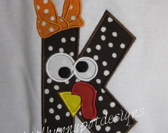 Boutique Custom Personalized Turkey Initial Shirt Girls Thanksgiving Name Included  Appliqued Embroidered