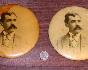 2 Photo Antique Badges Matching Armour Soap Works Well Dressed Man Mustache Chicago Patd May 31, 1898 Vintage Buttons CrabbyCats Crabby Cats