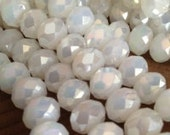 Faceted Opaque White AB Crystal Rondelles - 10x8mm - 8 inch strand