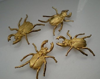 4 large brass stag beetle charms