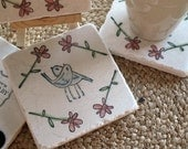 Love Bird Tile Coasters - Wedding Gift for the Couple - Set of 4