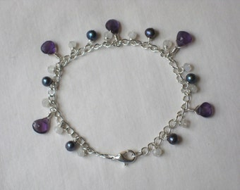 Faceted Amethyst Teardrop, Rainbow Moonstone and Freshwater Pearl Bracelet on Sterling Silver