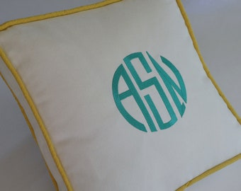 NEW COLOR - Custom Embroidered Pillow With Your Monogram - Any Color
