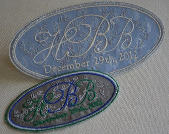 Custom Embroidered Wedding Dress Label French Silk Blue Paisley Stitched With Metallic Silver Thread - His and Hers