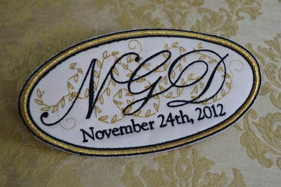 Custom Embroidered Wedding Dress Label French Silk Satin Stitched With Metallic Gold Thread - His and Hers