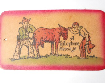 LEATHER SOUVENIR POSTCARD- Tail-O-Phone message, leather post-card, vintage 1950s