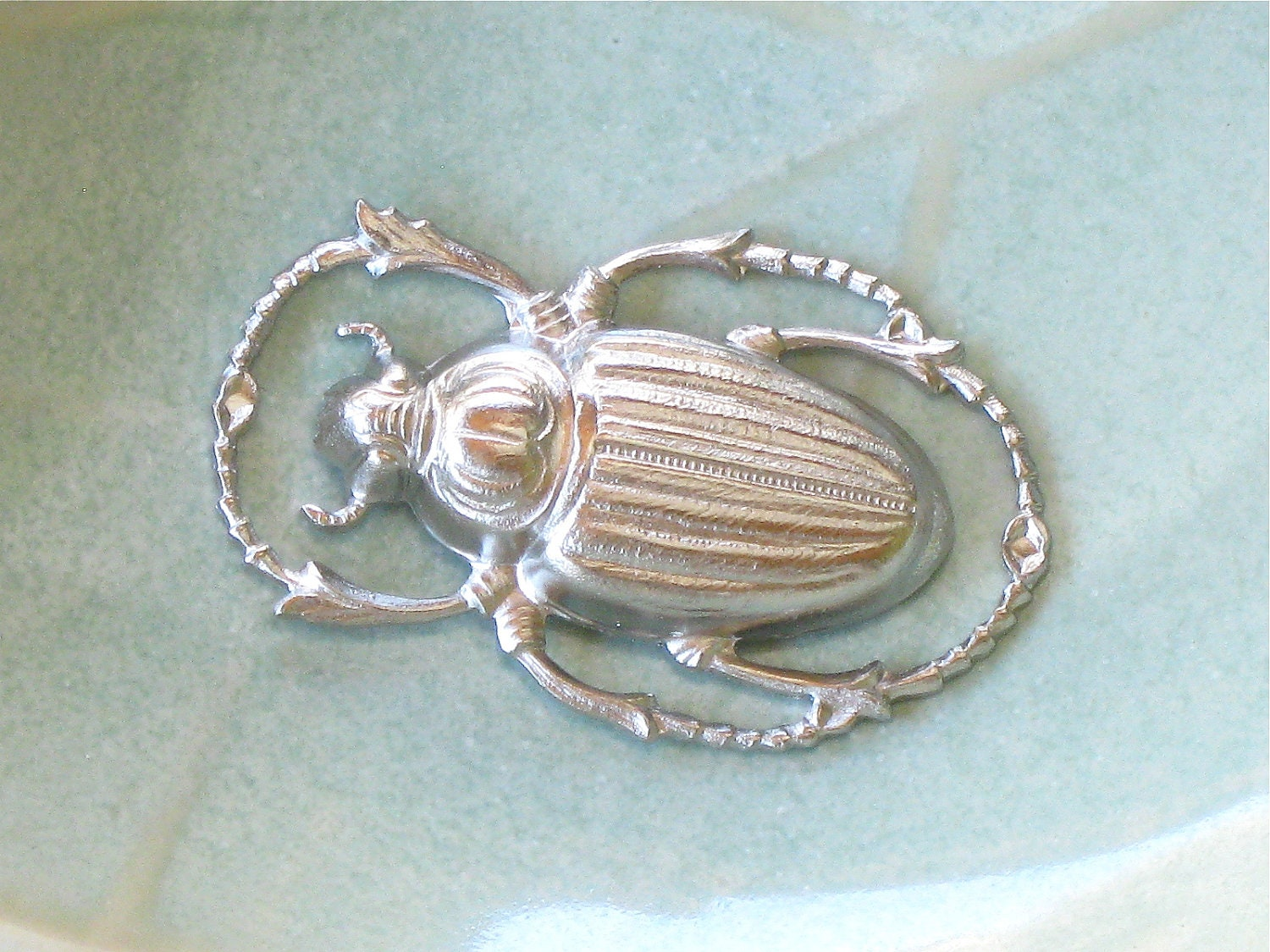 large SCARAB beetle silver jewelry connector charm. 32mm x