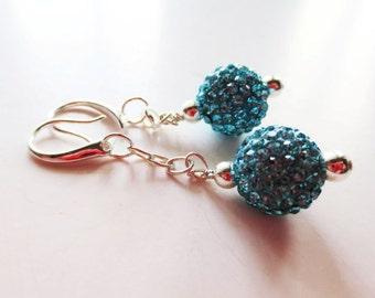 Aqua blue disco ball earrings.  Pave silver long dangle earrings.