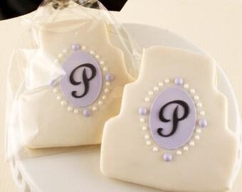 Wedding Cake Cookies, Monogrammed, Anniversary Cookies - 12 Decorated Sugar Cookie Favors