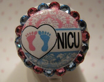 NICU Baby Feet RN using Swarovski Elements Name Tag ID Badge Holder Reel with Pacifier Charm