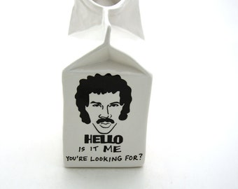 Hello is it Me Lionel Richie ceramic milk carton pitcher SALE