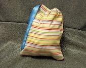 Drawstring Gift Bag, Multicolor Stripes Print