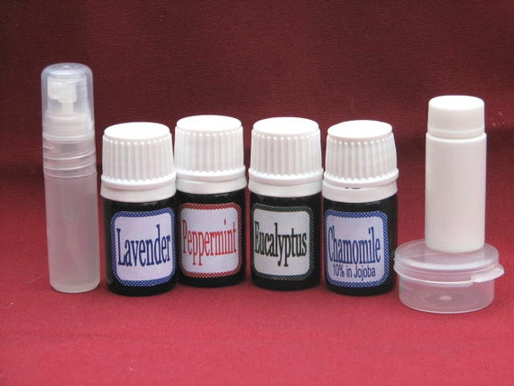 ESSENTIAL OIL KIT  - 4 Essential Oils with Instructions, 3 empty containers, all inside clear vinyl pouch
