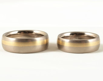 rings in white and yellow gold