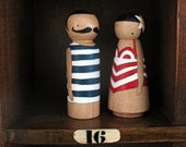 wooden folk art peg dolls ... Alfred and Gaby beach bums